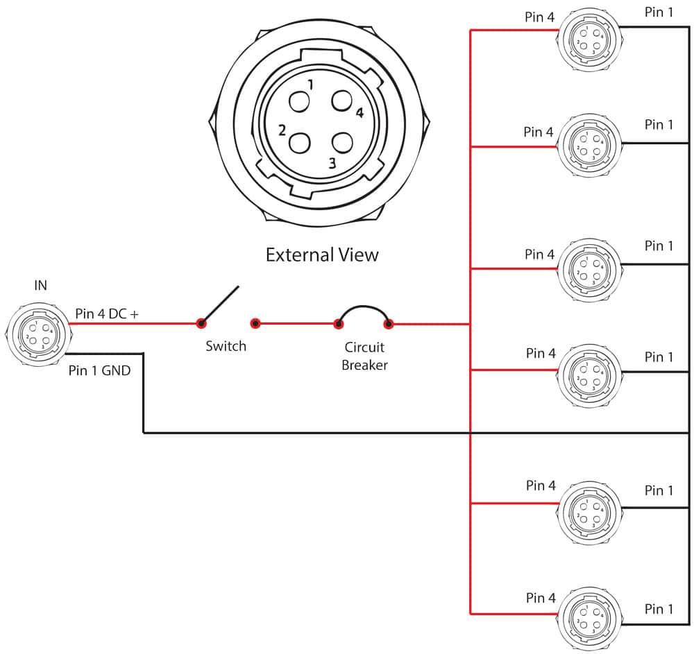 Wiring Diagram for 4 pin Hirose Power Distribution for Location Recording pinout